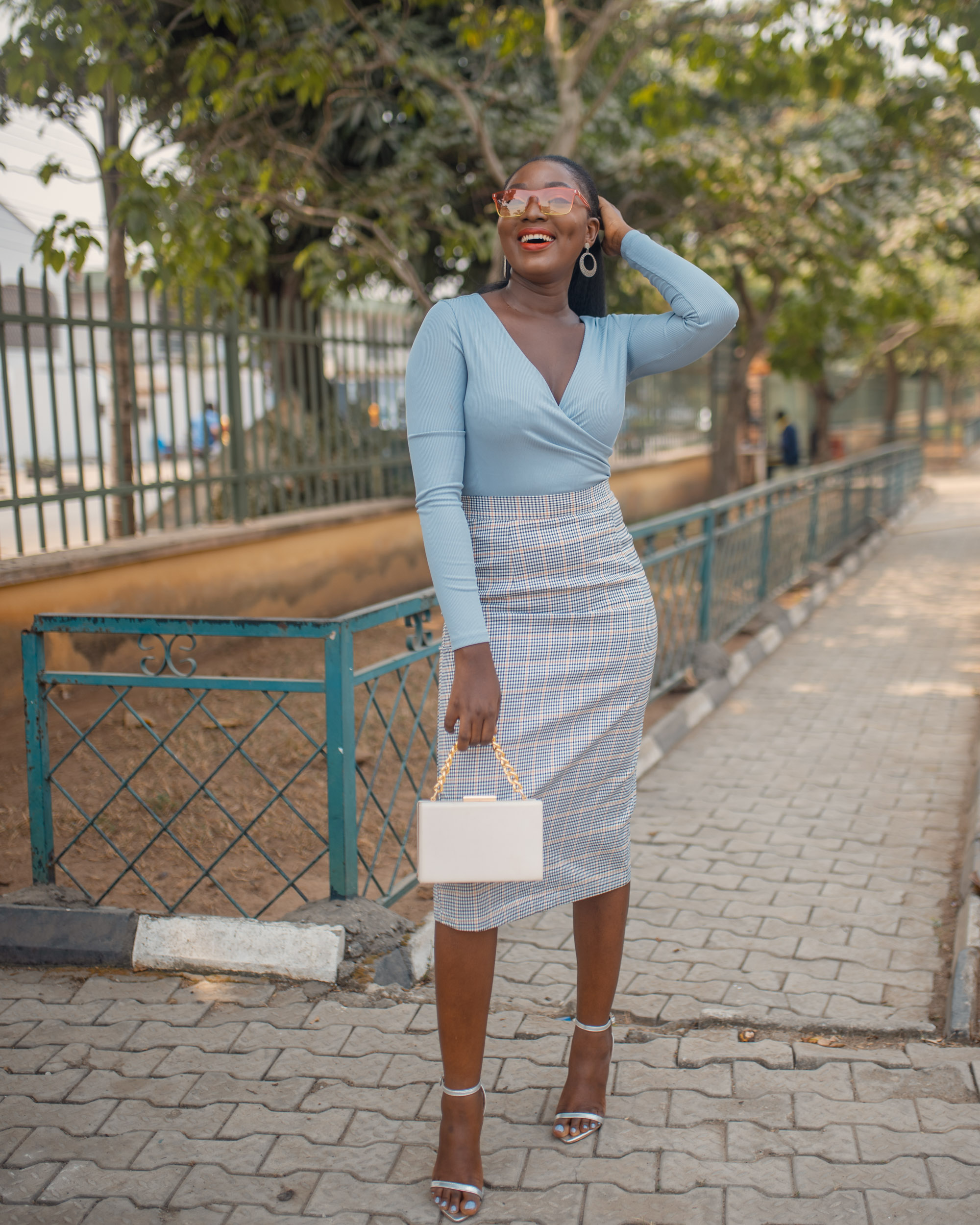 How to style a plaid skirt and bodysuit fashion blogger neutrals styling